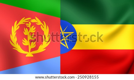 Flag of Tigrinya Language. Close Up.    - stock photo