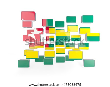 Flag of togo, mosaic background. 3D illustration