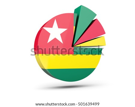 Flag of togo, round diagram icon isolated on white. 3D illustration
