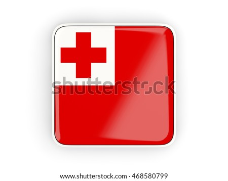 Flag of tonga, square icon with white border. 3D illustration