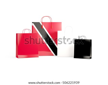 Flag of trinidad and tobago on shopping bags. 3D illustration