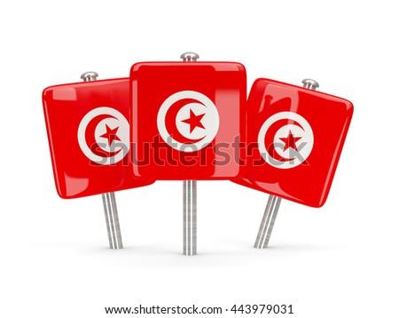 Flag of tunisia, three square pins. 3D illustration - stock photo