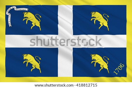 Flag of Turin is a city and an important business and cultural centre in northern Italy, capital of the Piedmont region - stock photo