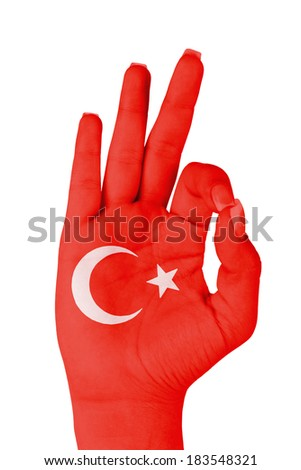 Flag of Turkey painted on hand