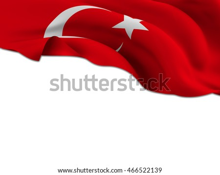 Flag of Turkey waving on a white background left for your creativity-3d rendering