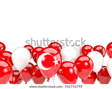 Flag of turkey, with balloons isolated on white. 3D illustration