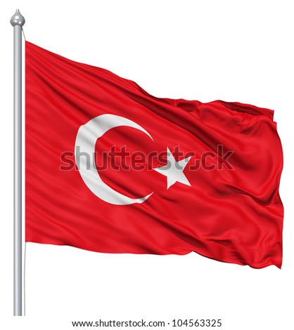 Flag of Turkey with flagpole waving in the wind against white background - stock photo