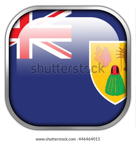 Flag of Turks and Caicos Islands, square glossy button - stock photo