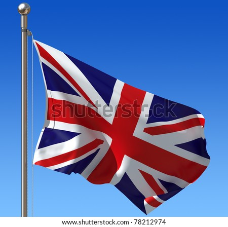 Flag of UK against blue sky. Three dimensional rendering illustration. - stock photo