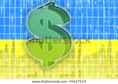 Flag of Ukraine, national country symbol illustration finance economy dollar - stock photo