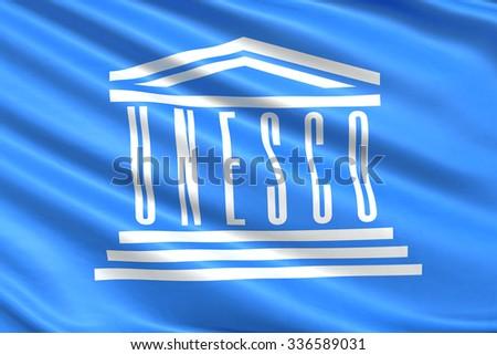 Flag of UNESCO United Nations. - stock photo