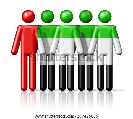 Flag of United Arab Emirates on stick figure - national and social community symbol 3D icon - stock photo