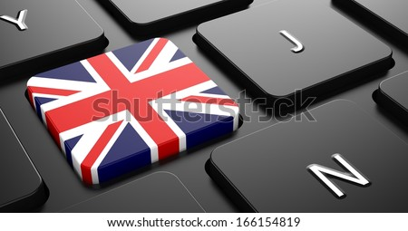 Flag of United Kingdom - Button on Black Computer Keyboard. - stock photo