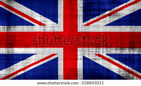 Flag of United Kingdom, Great Britain, British Flag painted on paper texture. - stock photo