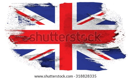Flag of United Kingdom, Great Britain, British Flag painted with brush on solid background, paint texture. - stock photo