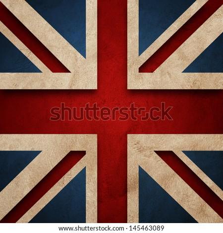Flag of United Kingdom. Grunge wall and vintage style flag of United Kingdom - stock photo