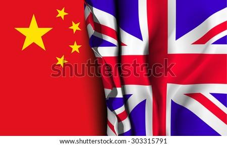 Flag of United Kingdom over the China flag.  - stock photo