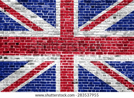 Flag of United Kingdom painted on brick wall, background texture
