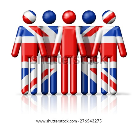 Flag of United Kingdom, UK on stick figure - national and social community symbol 3D icon - stock photo