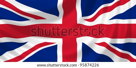 Flag of United Kingdom waving in the wind detail - stock photo