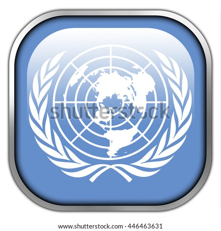 Flag of United Nations, square glossy button - stock photo