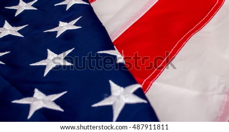 Flag of United States of America, elements, close up view