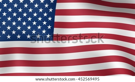 Flag of United States of America, fluttering in the wind. 3D rendering.