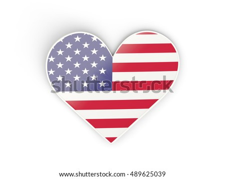 Flag of united states of america, heart shaped sticker isolated on white. 3D illustration