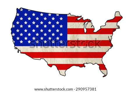 Flag of United States of America in USA map with old paper texture - Independence Day