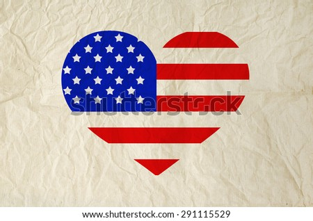 Flag of United States of America on heart shape with old vintage paper background, with clipping path - Independence Day - stock photo