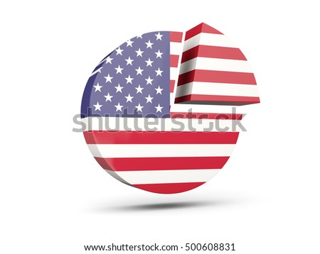 Flag of united states of america, round diagram icon isolated on white. 3D illustration