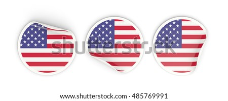 Flag of united states of america, three round labels isolated on white. 3D illustration