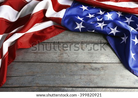 Flag of United States of America wooden background - stock photo