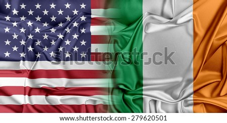 Flag of United States waving in the wind - stock photo