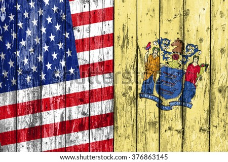 Flag of US and New Jersey painted on wooden frame