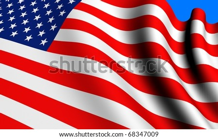Flag of USA against blue background. Close up.
