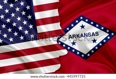 Flag of USA and flag of the State of Arkansas