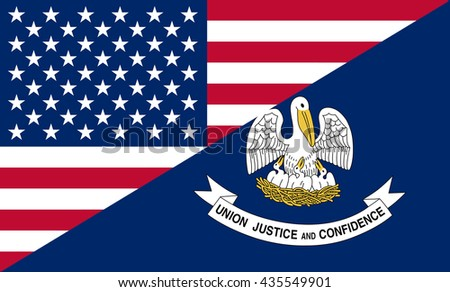 Flag of USA and Louisiana state (USA)