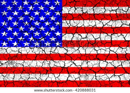 Flag of USA painted on cracked wall. Political concept. Old texture. Vintage design. USA flag on cracked earth. Famine and drought. Natural disaster. Front view.  - stock photo