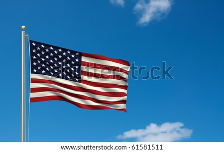 Flag of USA with flag pole waving in the wind on front of blue sky