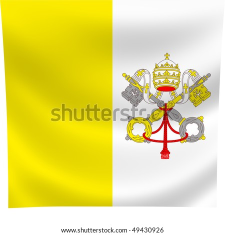 Flag of Vatican city waving in the wind - stock photo