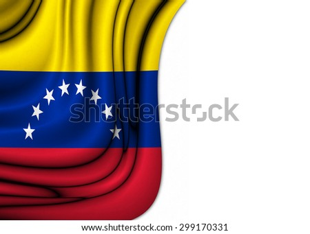 Flag of Venezuela dropped gently with soft and elegant curves drawn on silk fabric