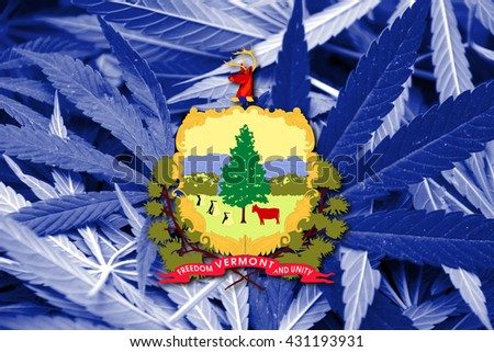Flag of Vermont State, on cannabis background - stock photo