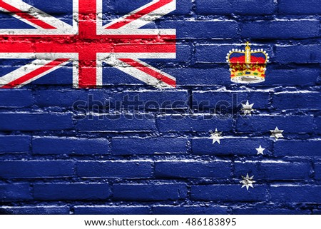 Flag of Victoria State, Australia, painted on brick wall