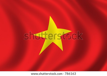 Flag of Vietnam waving in the wind - stock photo