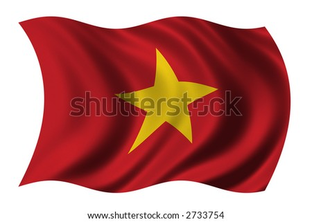 Flag of Vietnam waving in the wind - clipping path included - stock photo