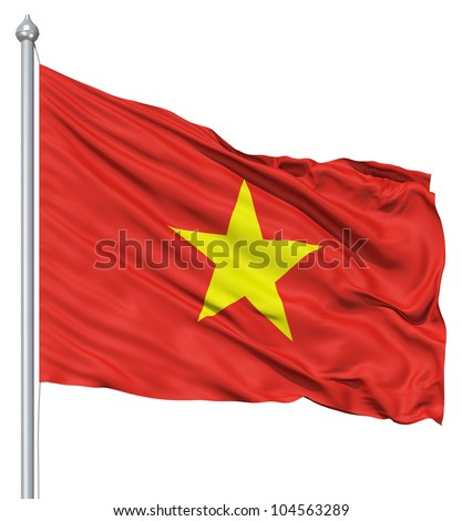 Flag of Vietnam with flagpole waving in the wind against white background - stock photo