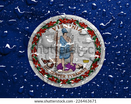 flag of Virginia with rain drops