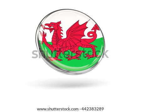 Flag of wales. Round icon with metal frame, 3D illustration