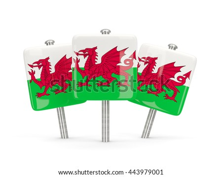 Flag of wales, three square pins. 3D illustration - stock photo